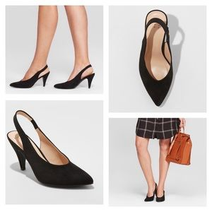 A new day Black Nettie Sling Back Heeled Pumps 9M